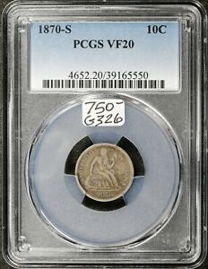 1870 S SEATED LIBERTY DIME.  IN PCGS HOLDER.  VF20.  G326