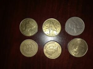 LOT OF 6 FOREIGN COINS EASTERN CARIBBEAN COLOMBIA ISRAEL MORE