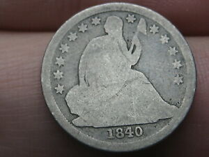 1840 SEATED LIBERTY SILVER DIME  NO DRAPERY