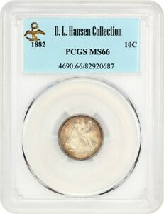 1882 10C PCGS MS66 EX: D.L. HANSEN   LOVELY TYPE COIN   LIBERTY SEATED DIME