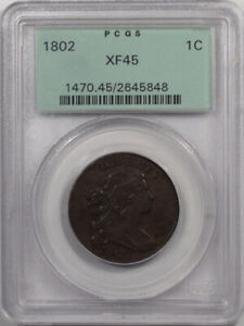 1802 DRAPED BUST LARGE CENT PCGS XF 45 REALLY NICE COLOR & PLANCHET OLD HOLDER