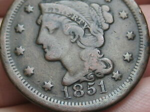 1851 BRAIDED HAIR LARGE CENT PENNY  FINE DETAILS