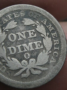 1851 O SEATED LIBERTY DIME    VG DETAILS