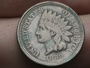 1859 COPPER NICKEL INDIAN HEAD CENT PENNY  FINE DETAILS