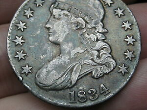 1834 CAPPED BUST HALF DOLLAR  XF DETAILS LARGE DATE AND LARGE LETTERS