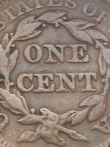 1851 BRAIDED HAIR LARGE CENT PENNY  VG/FINE DETAILS