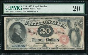 1875 $20 LEGAL TENDER UNITED STATES NOTE FR  128 PMG 20 FINE