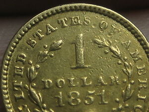 1851 C $1 GOLD LIBERTY HEAD ONE DOLLAR COIN   CHARLOTTE COIN