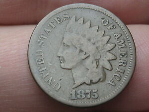 1875 INDIAN HEAD CENT PENNY  VG DETAILS