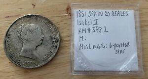 1851 6 POINTED STAR SPAIN 20 REALES ISABEL II KM593.2