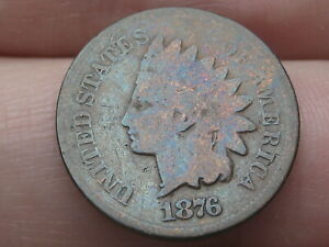 1876 INDIAN HEAD CENT PENNY  GOOD/VG DETAILS TONED