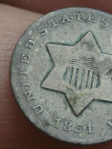 1851 THREE 3 CENT SILVER TRIME  VG DETAILS