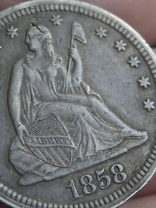 1858 P SILVER SEATED LIBERTY QUARTER  XF DETAILS