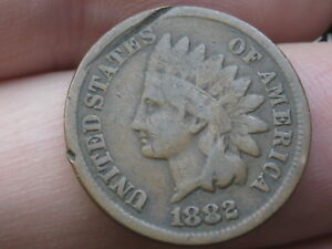 1882 INDIAN HEAD CENT PENNY  VG DETAILS FULL DATE