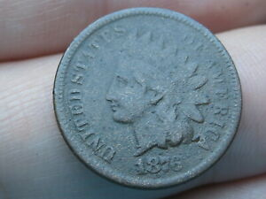 1876 INDIAN HEAD CENT PENNY  FINE DETAILS