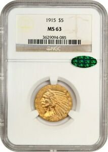 1915 $5 NGC/CAC MS63   INDIAN HALF EAGLE   GOLD COIN
