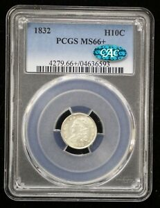 Click now to see the BUY IT NOW Price! 1832 CAPPED BUST SILVER HALF DIME PCGS MS66  CAC CERTIFIED   06139