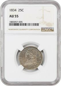 1834 25C NGC AU55   GREAT TYPE COIN   DRAPED BUST QUARTER   GREAT TYPE COIN