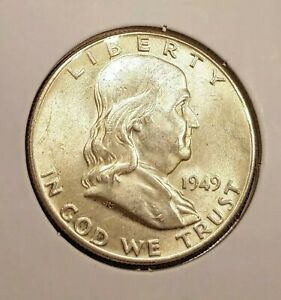 1949 FRANKLIN HALF DOLLAR AU /UNC