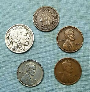 STARTER COLLECTION MIX LOT OF 5 OLD US COINS NO LONGER FOUND IN POCKET CHANGE