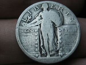 1917 1924 P SILVER STANDING LIBERTY QUARTER RAISED DATE TYPE 2