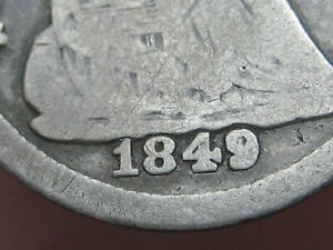 1849/6 P SEATED LIBERTY HALF DIME   OVERDATE