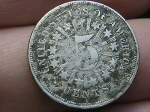 1866 SHIELD NICKEL 5 CENT PIECE  WITH RAYS  VG/FINE DETAILS