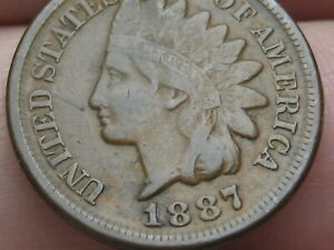 1887 INDIAN HEAD CENT PENNY  FINE/VF DETAILS