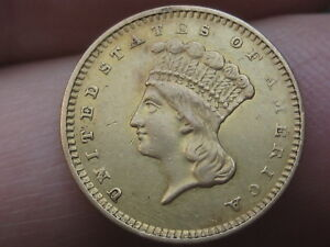 1857 S $1 GOLD LIBERTY HEAD ONE DOLLAR COIN   DATE