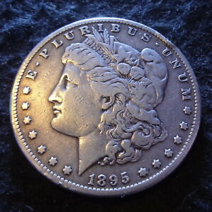 1895 S MORGAN SILVER DOLLAR   CHOICE FINE F  DETAILS FROM THE SAN FRANCISCO MINT