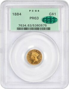 1884 G$1 PCGS/CAC PR 63  OGH  OLD GREEN LABEL HOLDER   1 GOLD COIN