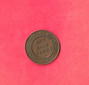 AUSTRALIA KM22 1922  VF VERY FINE NICE OLD VINTAGE ANTIQUE BRONZE 1/2 PENNY COIN