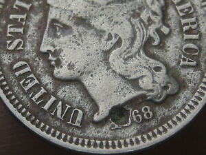 1868 THREE 3 CENT NICKEL  OLD TYPE COIN
