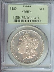 1885 MORGAN SILVER DOLLAR PROOF LIKE OLD GREEN HOLDER OGH STUNNING PCGS MS65 PL