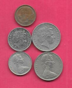 AUSTRALIA 5 DIFF DIFFERENT  1971 2005  COIN LOT COLLECTION SET GROUP W OLD