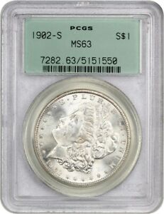 1902 S $1 PCGS MS63  OGH  OLD GREEN LABEL HOLDER   MORGAN SILVER DOLLAR