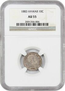 Click now to see the BUY IT NOW Price! 1883 HAWAII 10C NGC AU55   POPULAR TERRITORIAL ISSUE   HAWAII TERRITORY COINAGE