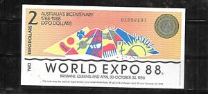 AUSTRALIA EXPO 1988 AU UNC $2 DOLLAR BANKNOTE PAPER MONEY CURRENCY NOTE