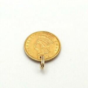 1873 1 ONE DOLLAR INDIAN PRINCESS TYPE III GOLD COIN CHARM PENDANT