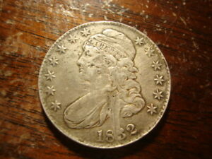 1832 XF SCRAPED CAPPED BUST HALF DOLLAR NICE LOOKING COIN REP