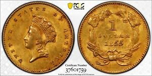 1855 PCGS & CAC MS62 GOLD DOLLAR $1 TYPE 2 KEY DATE