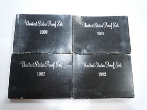 4 EMPTY PACKAGING REPLACEMENT PROOF SET BOXES NO COINS 1980 1981 1982 1982