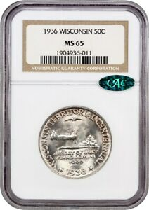 1936 WISCONSIN 50C NGC/CAC MS65   SILVER CLASSIC COMMEMORATIVE
