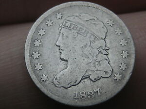 1837 CAPPED BUST HALF DIME  SMALL 5C  VG/FINE DETAILS