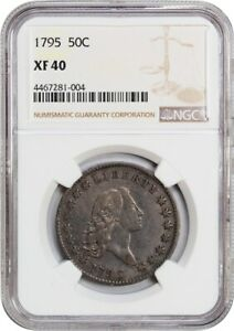 1795 50C NGC XF40  2 LEAVES  DESIRABLE 2 YEAR TYPE COIN   BUST HALF DOLLAR