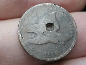 1858 FLYING EAGLE PENNY CENT  SMALL LETTERS GOOD/VG DETAILS