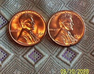 1960 P/D LARGE DATE LINCOLN MEMORIAL CENT'S   2 COIN'S     ITM0388