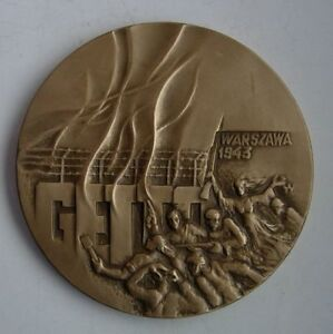 WARSAW JEWS HOLOCAUST WWII GHETTO UPRISING POLAND POLISH JUDAICA MEDAL BRONZE