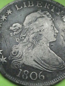 1806 DRAPED BUST HALF DOLLAR  POINTED 6 XF DETAILS