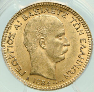 Click now to see the BUY IT NOW Price! 1884 GREECE KING GEORGE I ANTIQUE GOLD 20 DRACHMAI COIN PCGS CERTIFIED MS I84883